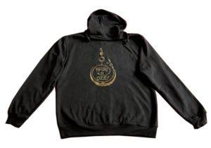 Felpa con cappuccio nera con logo Maghi di Ozzy in oro